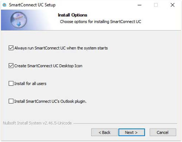 SmartConnect UC Install Options