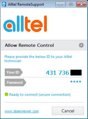 alltel remote support login window